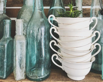 White Tea Cup Set  || Gold Trim || Tea Cups || Farmhouse Style || Kenwood China ||
