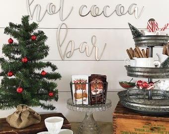 hot cocoa bar || Metal Sign || Holiday Decor || Cursive Sign || Home Decor || Script Sign || Christmas Sign || Rusty || Galvanized || Black
