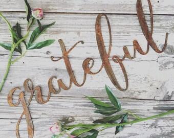grateful || metal word || cursive word || cursive sign || grateful sign || wedding gift || galvanized || rusty sign || black sign ||