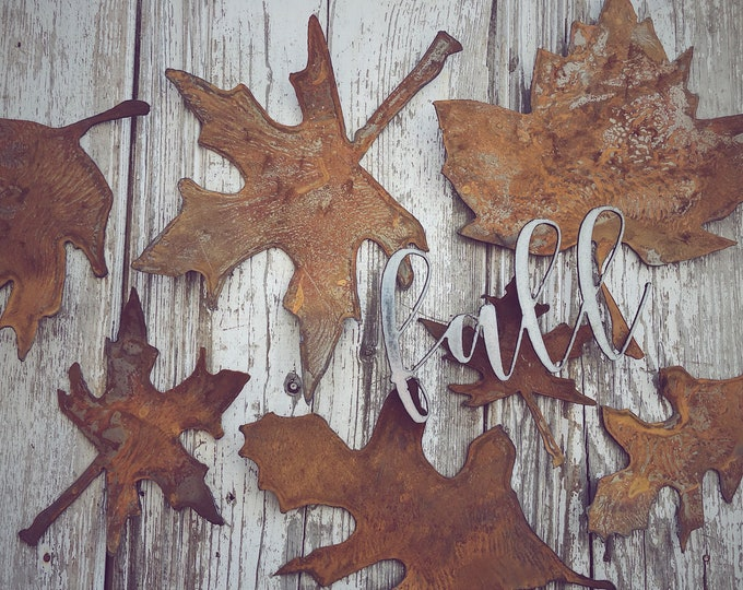Featured listing image: Rusty Metal Leaves || Rusty  Leaf || Metal Leaf || Fall Decor || Home Decor ||Tablescape || Rustic Decor || Place Setting || Wedding Decor |