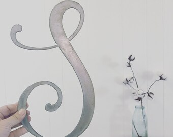 "Script Handwritten Font Letter 10"" - 18"" Metal Ampersand Symbol Sign Letters Wedding Decor Junk Love and Co"
