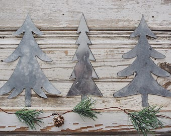 Matte Metal Tree Set No. 1 || Tablescape  || Holiday Decor || Farmhouse Christmas || Farmhouse Style || Galvanized Metal