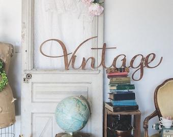 Medium Vintage Sign || Metal Word || Metal Sign || Cursive Sign || Vintage Decor || Vintage Style || Rusty Sign || Galvanized Sign || Large