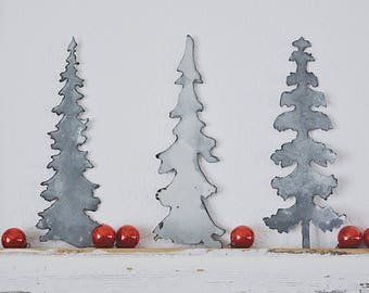 Matte Metal Tree Set No. 2 || Tablescape  || Holiday Decor || Farmhouse Christmas || Farmhouse Style || Galvanized Metal