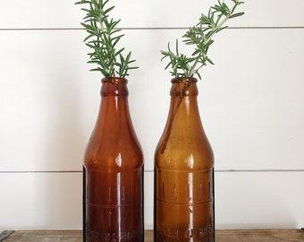 Vintage Amber Glass || Flower Vase || Farmhouse Style || Farm Fresh || Wedding || Wedding Decor || Vintage Decor || Old Bottle || Fall Decor