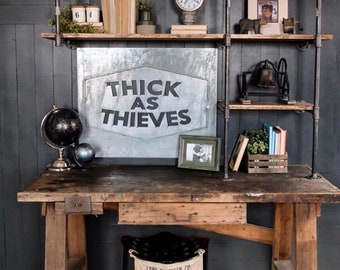 Thick as Thieves || Boys Sign || Big Metal Sign  || Large Metal Sign || Industrial Sign || Metal Negative Sign || Home Decor || Boys Room ||