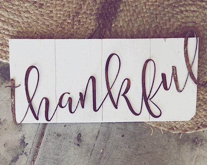 Featured listing image: thankful sign || Metal Word || Metal Sign || Cursive Sign || Farmhouse Style || Vintage Style || Farmhouse Sign ||