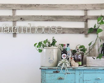 farmhouse || 3 ft || Metal Sign || Kitchen Sign || Home Decor || Wedding Gift || Rusty Sign || Metal Word ||