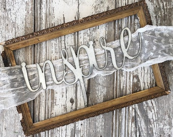 inspire Sign    Ready to Ship    Metal Sign    Home Decor    gallery wall    Galvanized    Black    cursive sign    cursive word   