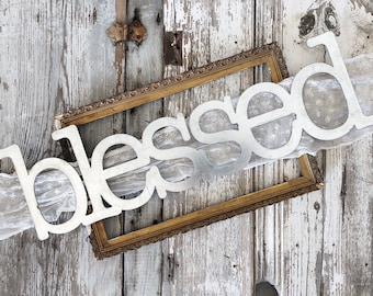blessed Sign    Metal Sign    Home Decor    gallery wall    Galvanized    Black    Metal Word   