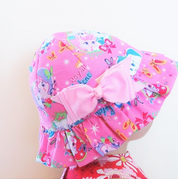 Girls Reversible Cotton Sun Hat with Ruffles Brim