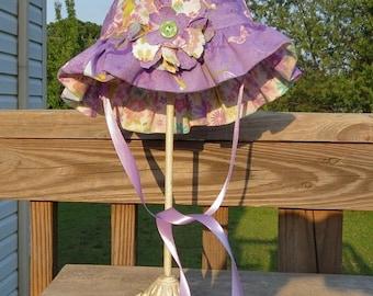 "Child Reversible Cotton Sun Hat Girls Hat Disney ""Tinker Bell"" Reversible Floppy Hat with Ruffle Brim"