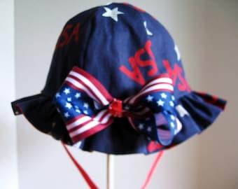 Reversible Girl Patriotic Sun Hat  with Ruffle Brim