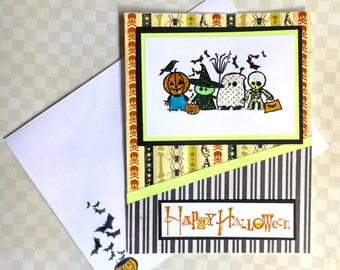 Happy Halloween Greeting Card - Pumpkin Witch Ghost Skelation - Handmade Paper Card for kids or Adults