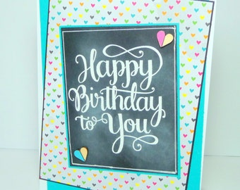 Happy Birthday Greeting Card - Chalkboard Style Handmade Paper Card with Coordinating Embellished Envelope