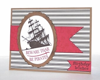 Pirate Happy Birthday Greeting Card - Handmade Paper Card with Coordinating Embellished Envelope