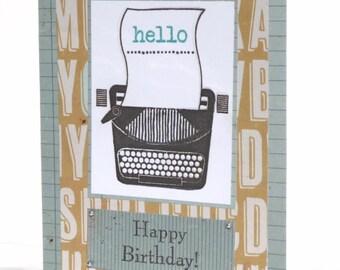 Happy Birthday Typewriter Handmade Greeting Card for Him