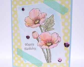 Happy Birthday Greeting Card - Handmade Paper Card - Watercolor Card - Poppy for Her Birthday Greeting