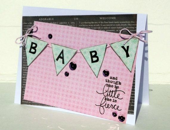 though she little she is fierce card 5x7 inch blank birthday 2
