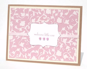 New Baby Girl Greeting Card - Handmade Paper Card with Coordinating Embellished Envelope