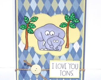 Happy Fathers Day or Dad Birthday Greeting Card - Handmade Paper Card for Him - Elephant Daddy and Baby Card