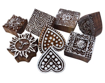 Handmade Print Blocks Round Design Shaped Wood Stamps Fabric Textile Paper Pottery Block Printing Stamp 3-3