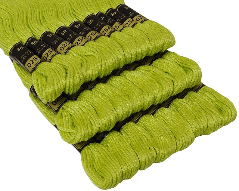 6 Anchor Cotton Thread Skeins floss embroidery thread Solid Green 8m each