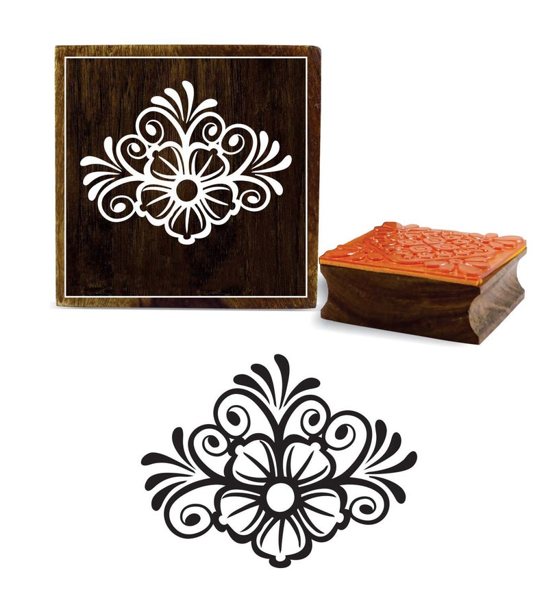 3702402994 Floral Pattern Crafting Stamp, Textile Blcok, Square Rubber Stamp, Pottery  Print Block, Card Making Stamp, 1 Pc Wooden Border Stamp, PRB-433