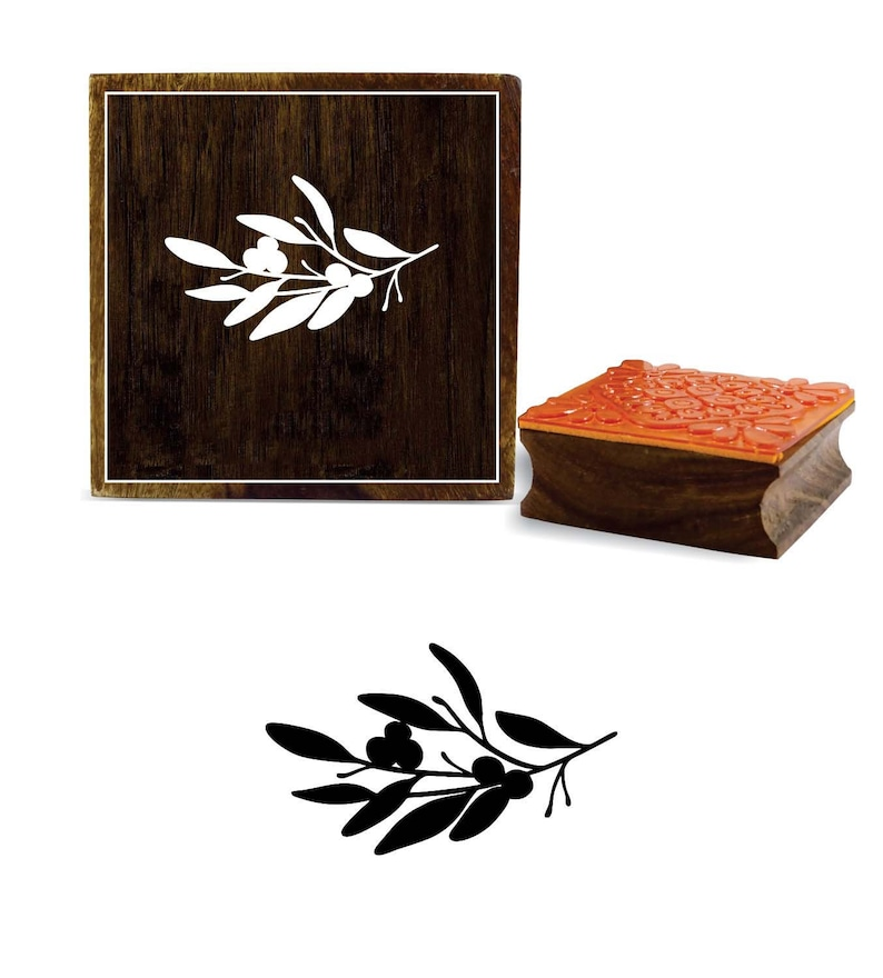 Decorative Beautiful Olive Branch with Leaves Design Brown Wooden Rubber Stamp PRB-995 Apparel Fabric Stamp,\u00a0Scrap-Booking Craft By 1 Pc