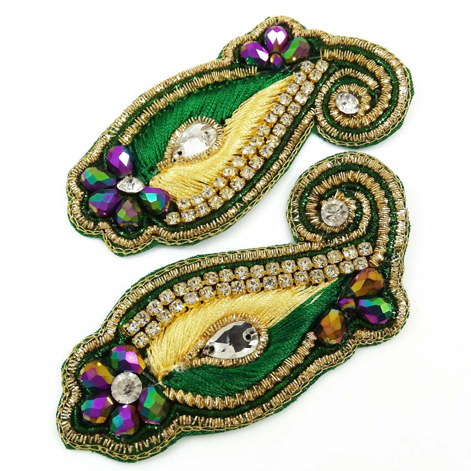 Beaded Decorative Appliques Royal Patch Applique Supply Crafting 1 Pair