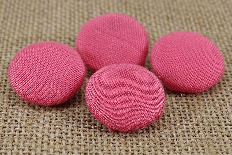 Decorative Yellow Round Cotton Twill Fabric Covered Buttons 2 Holes Scrapbooking