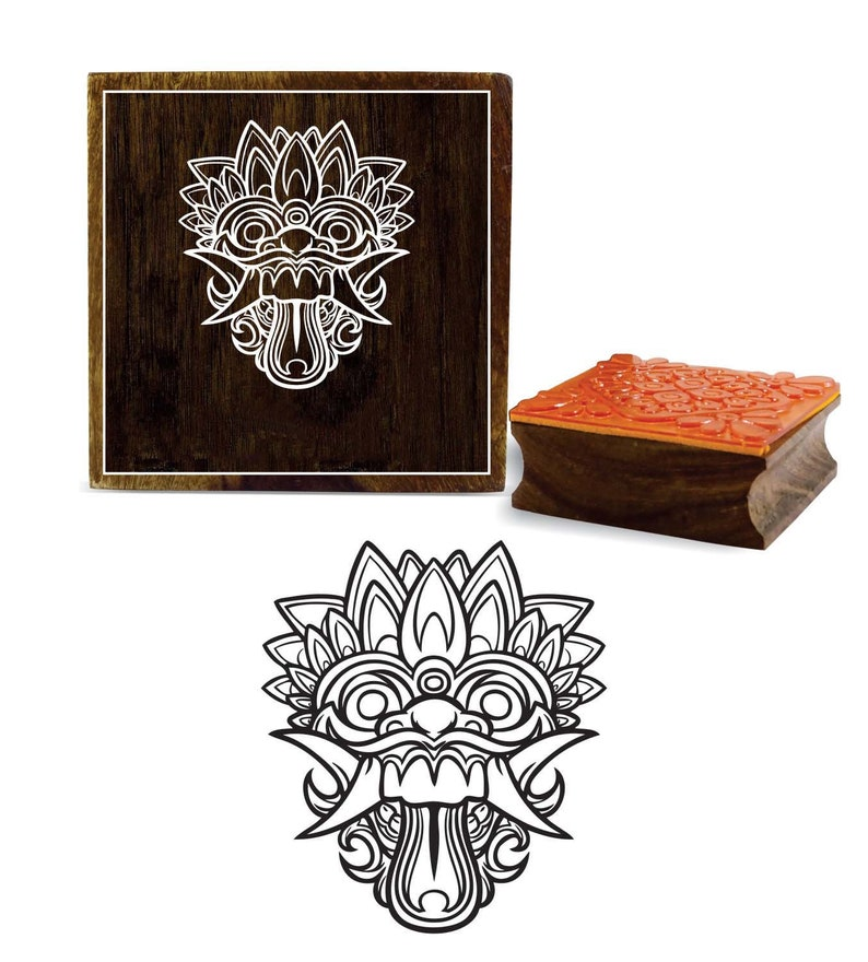 Scrap-Booking Square Wooden Rubber Stamp Textile Printing Block Decorative Wood Art Craft By 1 Pc PRB-617 Bali Mask Design Craft Stamps
