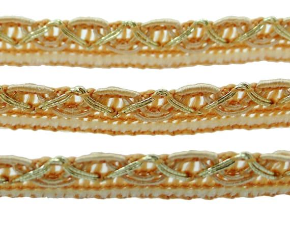 Robe créateur Decor fil métallique Sari indien indien Sari garniture métallique bordure dentelle 12,7 Mm alimentation large galon couture BRD114N garniture 18 Yards d'artisanat 136074