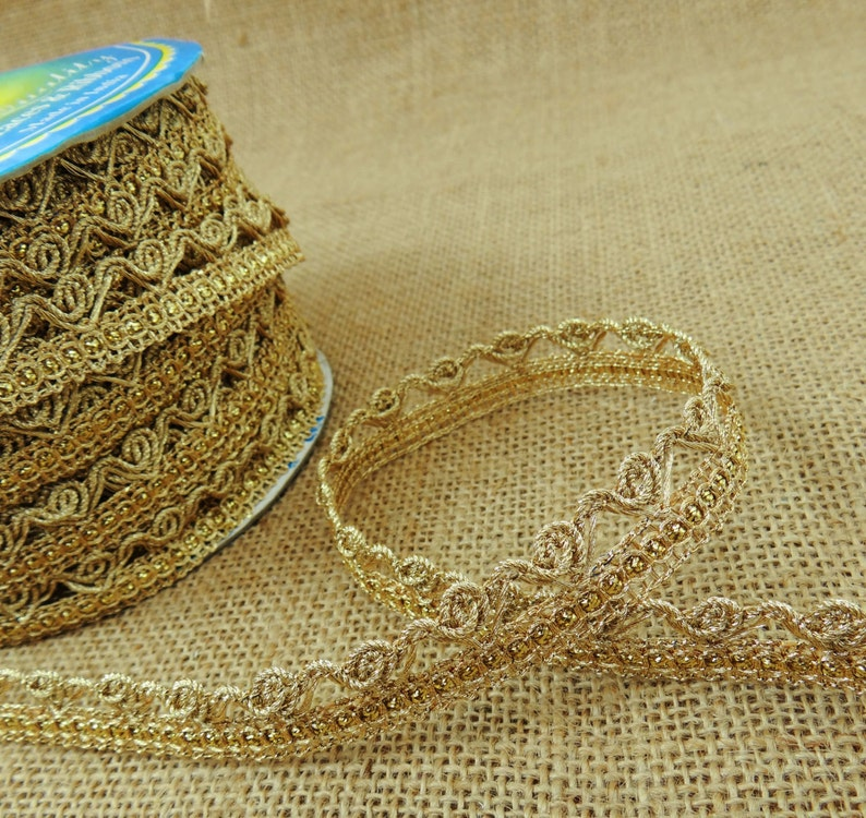7 MM Wide Metallic Gold Braid Edging Trim Sewing Supply By The 18 Yard