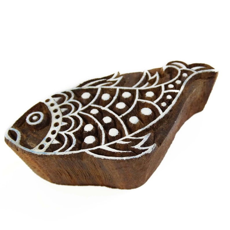 Hand Craved Fish Stamp Wooden Block Fabric Printing Blocks PB1572 Textile Printing Block Wooden Block By 1 Pc Indian Wooden Stamp