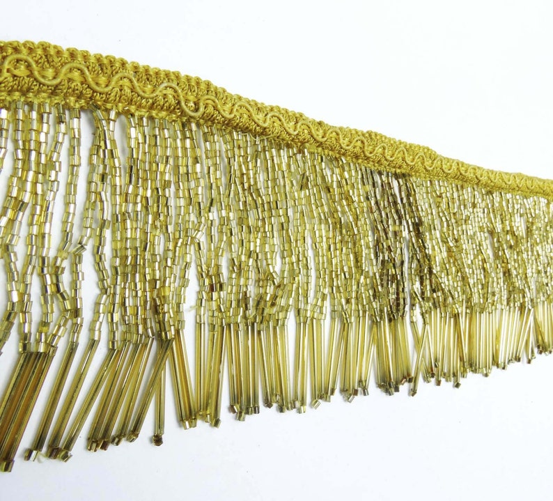 Indian Golden Red Beaded Lace Supply Upholstery Decorative Fringe Craft Trim by The Yard