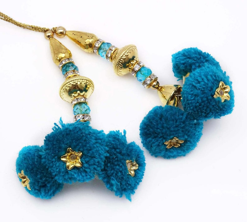 Blue Gold Beaded Latkans Sewing Decorative Tassels Accessory Crafting By 1 Pair