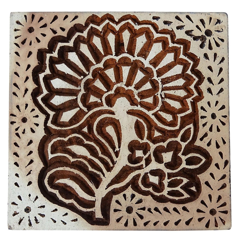 Business & Industrial Floral Indian Wood Block Art Handcarved Indian Wooden Stamp Scrapbook Stamp