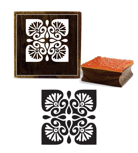 f649c36f27 Square Wooden Rubber Stamp, Floral Mandala Pattern, Carved Textile Stamp,  Card Making Block Print, Craft By 1 Pcs, PRB-139