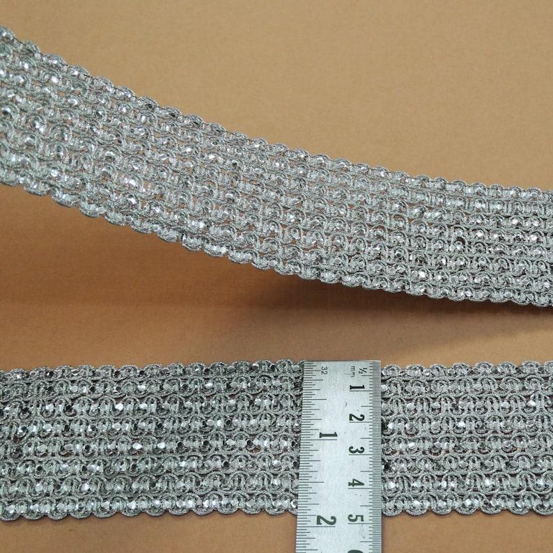 Silver Jacquard Trim Floral Craft Ribbon 5.0 Cm Wide Sari Border By The Yard