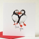 Cute puffins in love card. Love you card for Husband / Wife, Girlfriend / Boyfriend, by Sunshine for Breakfast