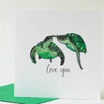 Turtles in love card for Girlfriend / Boyfriend. Love you card for Husband / Wife. Animal lovers card. Anniversary card. Turtle illustration