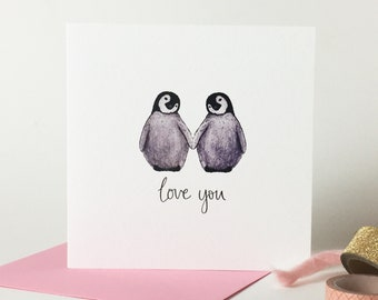 Cute Penguin Card For Girlfriend Boyfriend Love You Husband Wife Birthday Personalised Message
