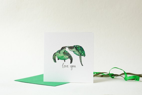 Turtles in love card for Girlfriend / Boyfriend  Love you card for Husband  / Wife  Anniversary card