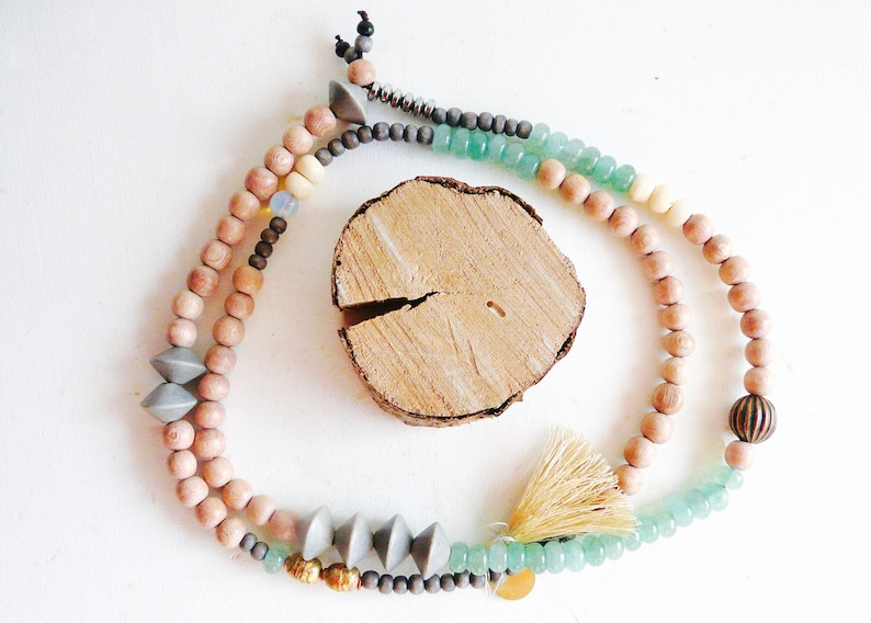 grey beads Mala necklace wood beads with green stones aventurine 04