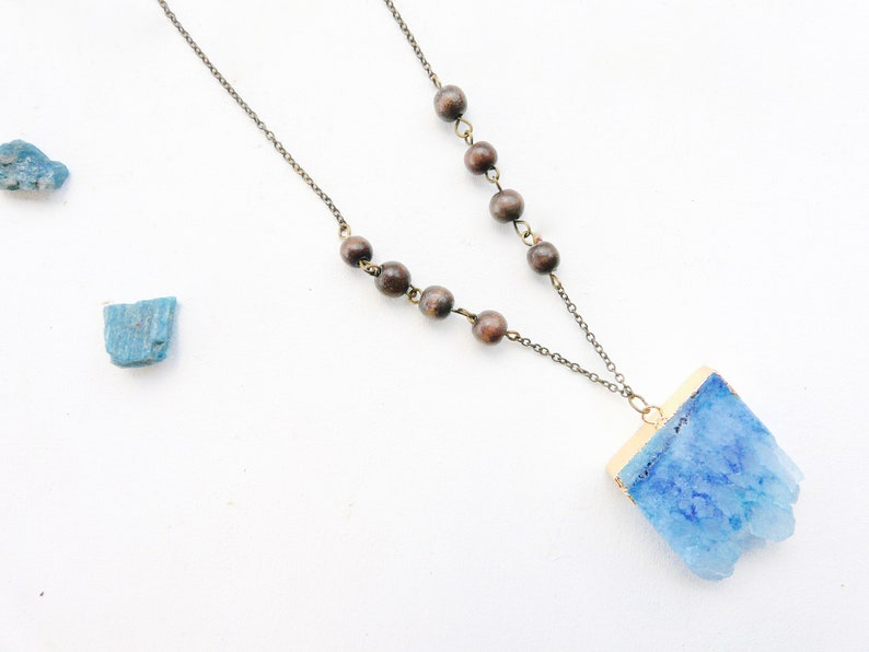ice blue, wooden, maia Lovely Blue Stone necklace with woods beads