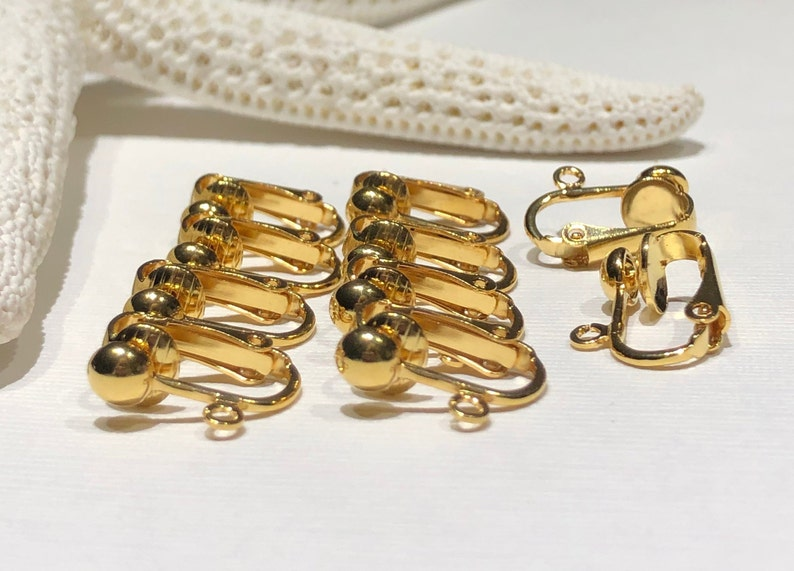 5 Pair-Clip on Earrings-Gold Plated Steel-16mm Hinged-5mm Ball-Open Loop-Non-Pierced Earrings-Jewelry Making-Beading Supplies