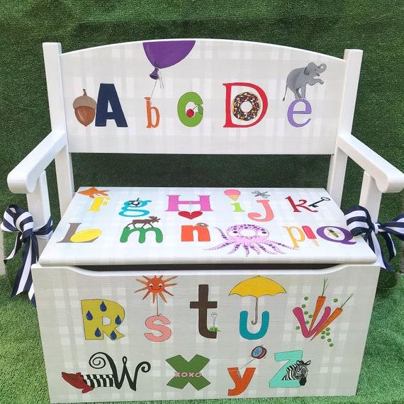Stupendous Childs Storage Bench Abcs Toy Storage Window Seat Kids Bench Alphabet Theme Nursery Art Toddler Bench Toy Box Toy Chest Kids Room Art Creativecarmelina Interior Chair Design Creativecarmelinacom