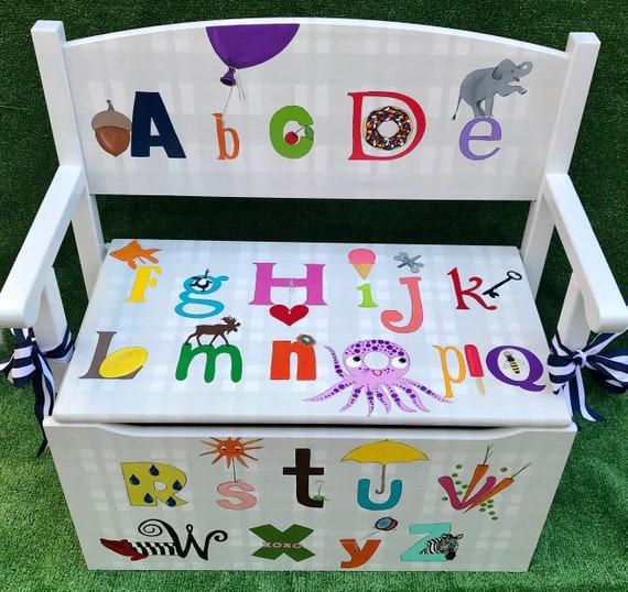 Groovy Childs Storage Bench Abcs Toy Storage Window Seat Kids Bench Alphabet Theme Nursery Art Toddler Bench Toy Box Toy Chest Kids Room Art Creativecarmelina Interior Chair Design Creativecarmelinacom