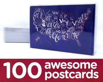 "Political Postcards: Set of 100 ""Vote"" US map postcards, perfect for writing to your reps or get out the vote"